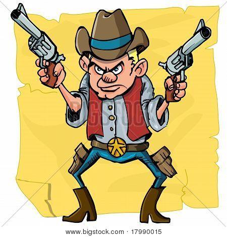 Cute Cartoon Cowboy Holding Sixguns