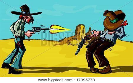 卡通牛仔枪战 库存矢量图和库存照片