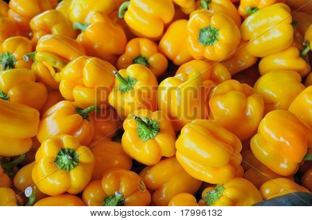 Closeup Of Yellow Peppers