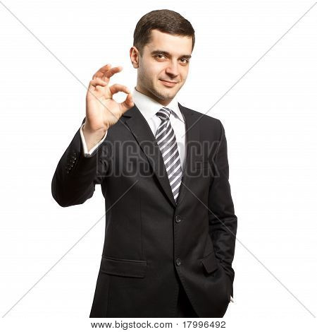 Happy Businessman In Suit Shows Ok