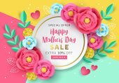 Mothers Day Sale Banner Template For Social Media Advertising, Invitation Or Poster Design With Pape poster