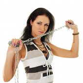 picture of saxy  - Portrait of a beautiful woman with steel shackles isolated on white background - JPG
