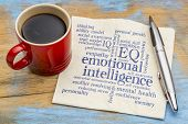 emotional intelligence (EQ) word cloud on a napkin with a cup of coffee poster