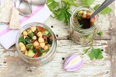 image of chickpea  - Lebanese chickpea salad served in jars with crackers - JPG