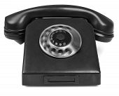picture of bakelite  - old bakelite telephone with spining dial on white background - JPG