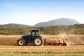 Agriculture plowing tractor on wheat cereal fields working