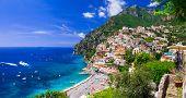 Beautiful coastal towns of Italy - scenic Positano in Amalfi coast poster
