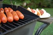 stock photo of hot dogs  - Barbeque Grill filled with hot dogs buns in background - JPG