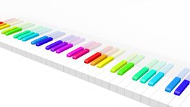 picture of rainbow piano  - abstract 3d illustration of colorful piano keyboard over white background - JPG
