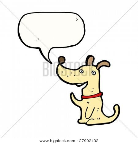 dog waving with speech bubble