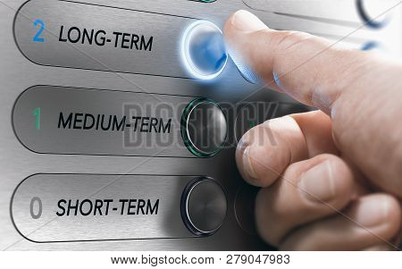 poster of Man Pushing An Elevator Buttons Where It Is Written Long Term. Investment Concept. Composite Image B