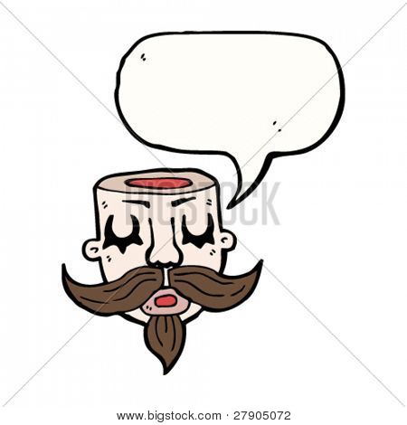 tattoo hollow head man with speech bubble