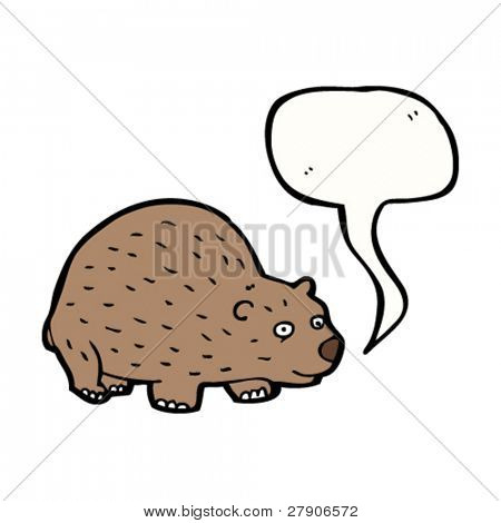 wombat with speech bubble cartoon