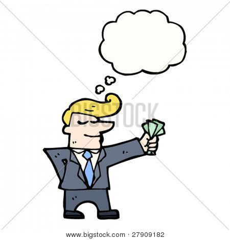 businessman holding cash cartoon
