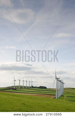 Two lines of wind turbines