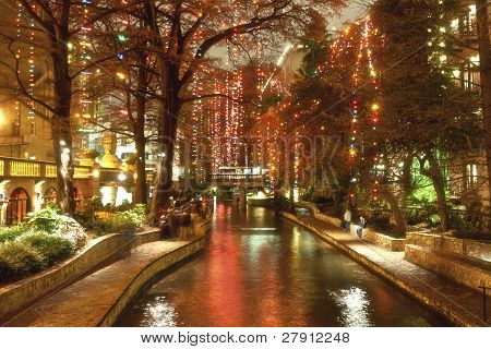 River Walk  In San Antonio City At Night At Holiday Season