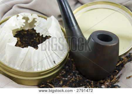 Ukranian Wooden Pipe With Tobacco