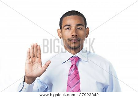 Hispanic Man Taking Oath