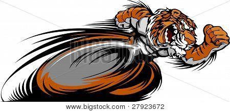 Racing Tiger Mascot Graphic Vector Image