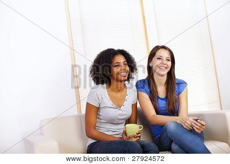 Cute Girls Watching Tv