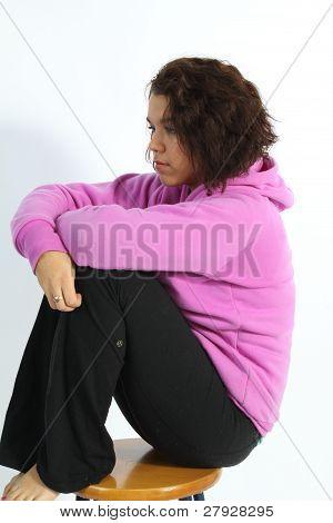 Beautiful Brunette in Lavender Colored Hoodie