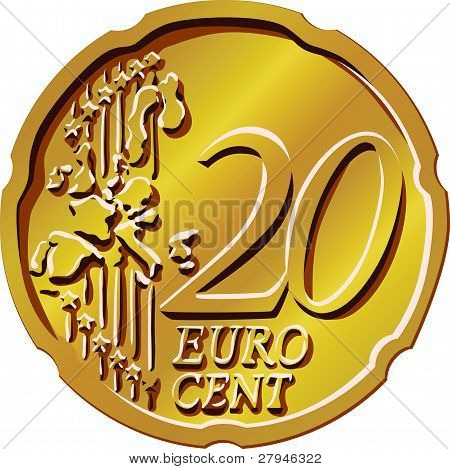 Vector Money Eurocent Gold Coin Twenty