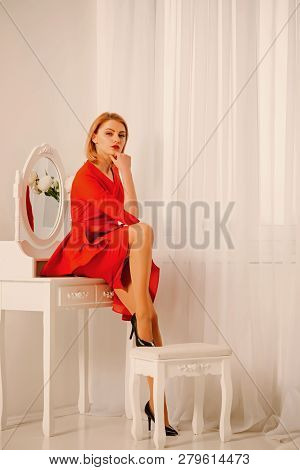 poster of Beauty Salon For Women. Beauty Of Woman In Salon. Beauty Salon Concept. Sexy Woman In Beauty Salon