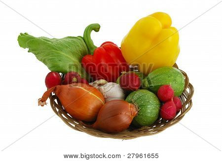 Mix Of Fresh Vegetables In Straw Bowl