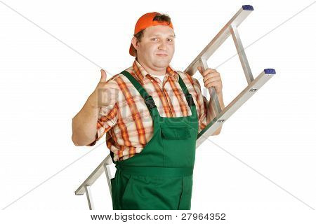 Worker In Overalls And Orange Baseball Cap