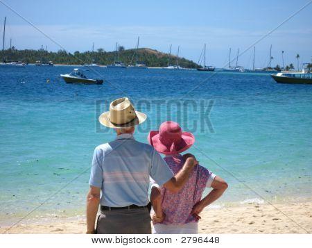 Senior Adults On The Beach