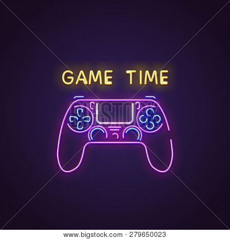 poster of Gamepad Neon Sign. Glowing Neon Sign Of Modern Gamepad. Game Time Letters Glowing In Retro Colors. G