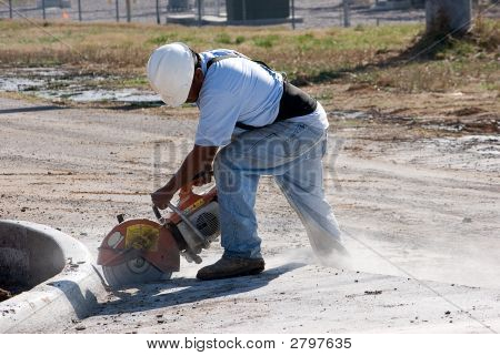 Man Cutting Concrete