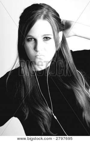 High Key Black And White Portrait Of A Teen Girl