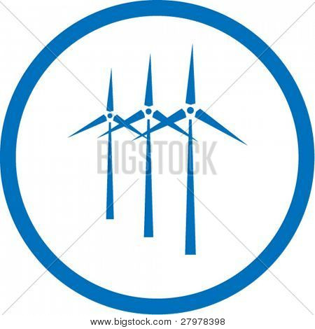 Vector wind turbine icon. Blue and white. Simply change. In my portfolio there is version 4 in 1