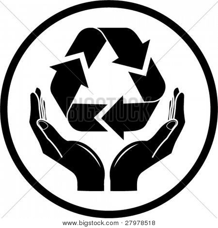 Vector recycle symbol in hands icon. Black and white. Simply change.