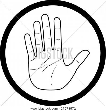 Vector hand icon. Black and white. Simply change.
