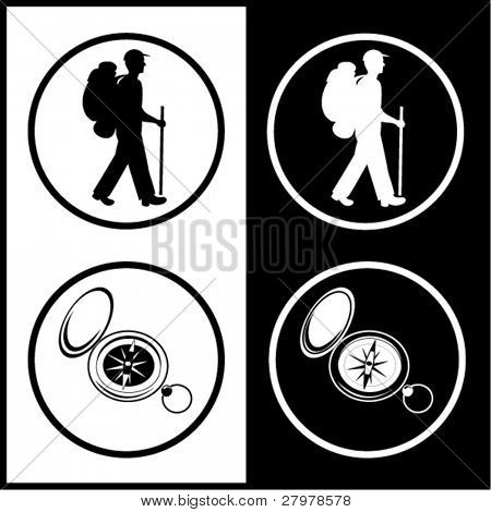 Vector traveller and compass icons. Black and white. Simply change.