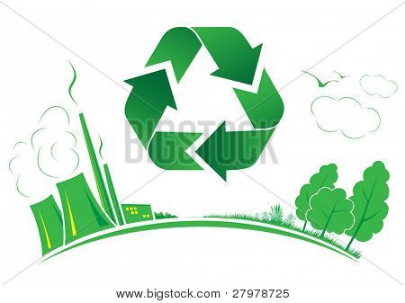 Vector recycle symbol. Green and white. Simply change. Other recycle symbols you can see in my portfolio.