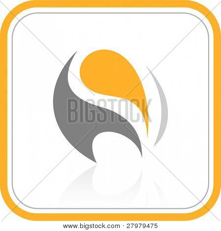 Vector abstract internet icon. Orange set.