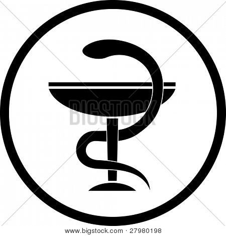 Vector pharma symbol. Black and white. Simply change.