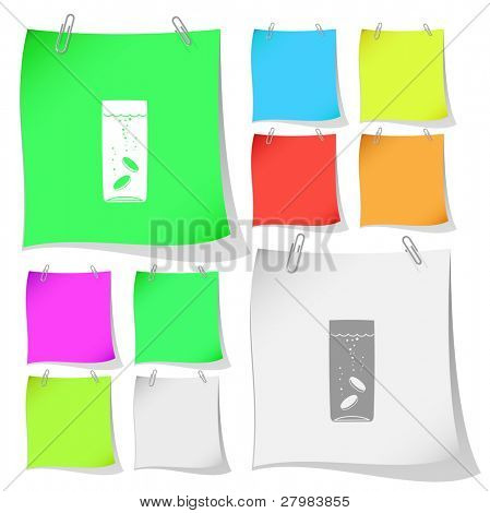Glass with tablets. Vector note papers.