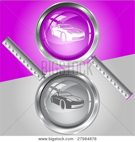 Car. Vector magnifying glass.