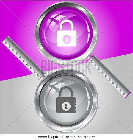 Closed lock. Vector magnifying glass.