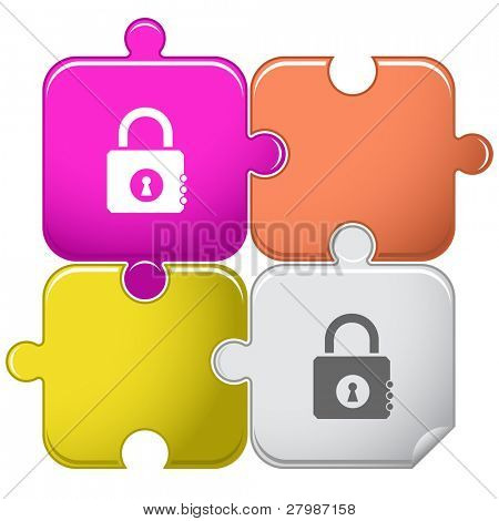Closed lock. Vector puzzle.
