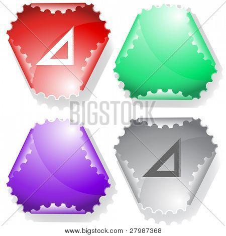 Triangle ruler. Vector sticker.