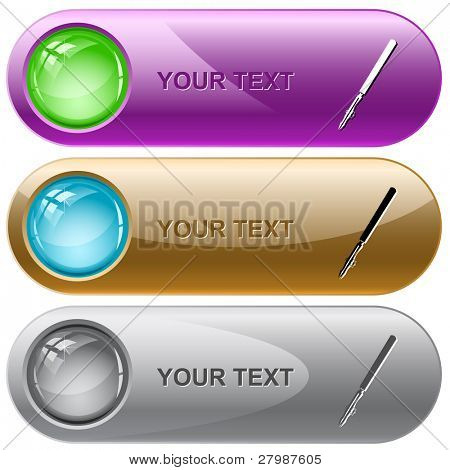 Ruling pen. Vector internet buttons.