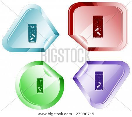 Glass with tablets. Vector sticker.