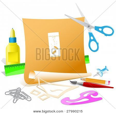 Glass with tablets. Vector paper template.