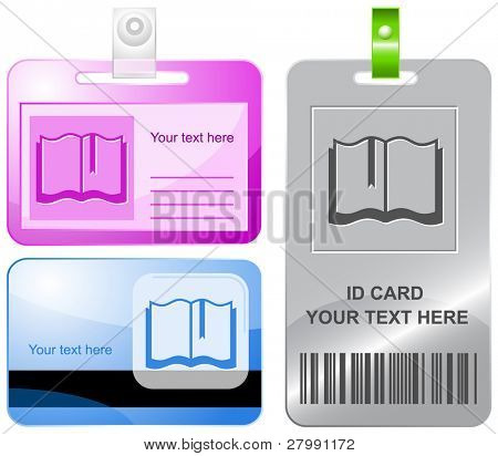 Book. Vector id cards.