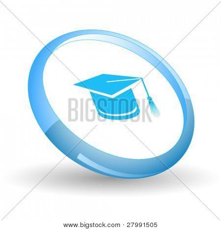 Graduation cap. Vector icon.